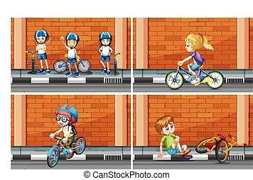 Scenes with kids on bike