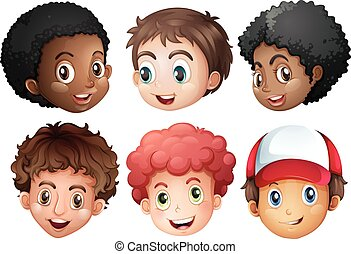 Boys with happy face illustration
