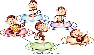 Monkeys standing on round plates illustration