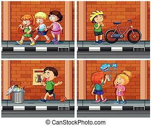 Children haning out on the sidewalk illustration
