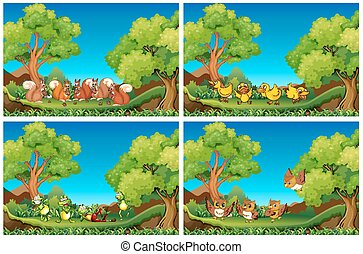 Scenes with animals in the garden illustration