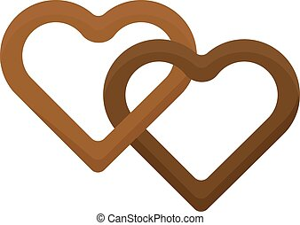 Heart cake isolated vector illustration. - Biscuit heart...