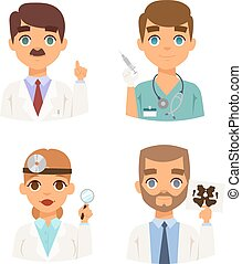 Doctors spetialists faces vector set. - Group of doctors and...