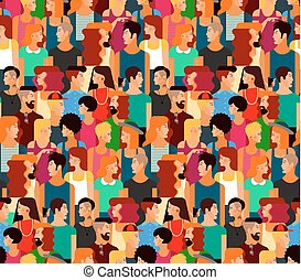 Boys, Girls in Colorful Clothes Pattern - Seamless Vector...