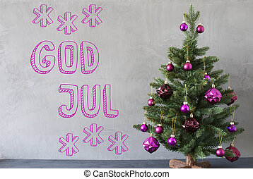 Tree, Cement Wall, Text God Jul Means Merry Christmas -...