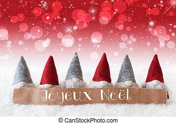 Gnomes, Red Background, Bokeh, Stars, Joyeux Noel Means...