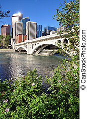 Calgary skyline - Calgary Alberta skyline with Bow River and...