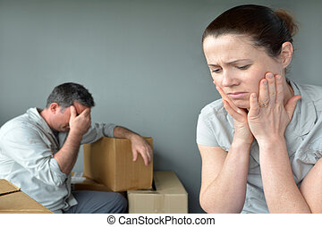 Sad evicted couple worried relocating house - Sad evicted...