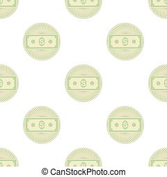 Set of Paper Dollars Seamless Pattern on White Background...