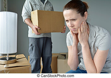 Upset woman when her partner is move out from home - Upset...