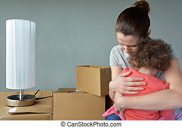 Sad evicted mother with child worried relocating house - Sad...