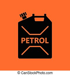 Fuel canister icon. Orange background with black. Vector...