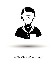 Icon of chemist in eyewear White background with shadow...