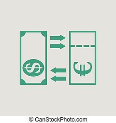 Currency exchange icon. Gray background with green. Vector...
