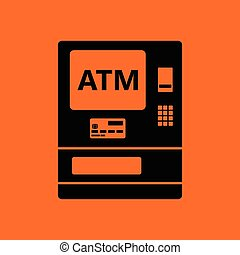 ATM icon. Orange background with black. Vector illustration.