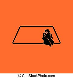 Wipe car window icon. Orange background with black. Vector...