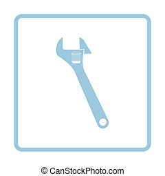 Adjustable wrench icon. Blue frame design. Vector...