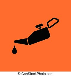Oil canister icon. Orange background with black. Vector...