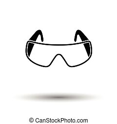 Icon of chemistry protective eyewear. White background with...