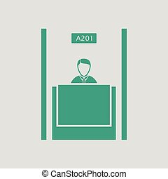 Bank clerk icon. Gray background with green. Vector...