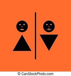Toilet icon. Orange background with black. Vector...