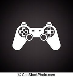 Gamepad icon. Black background with white. Vector...