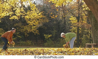 senior couple having fun in autumn