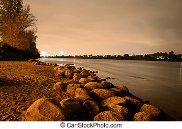 View of Neva River at night - View of Neva River at night in...