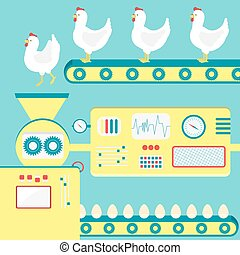 Chicken egg production - Factory producing chicken egg from...