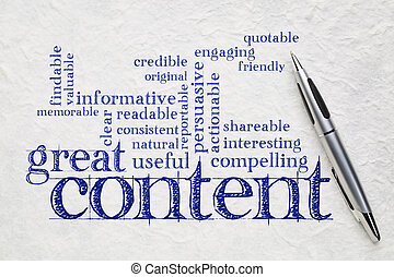 wrting great content concept - great content writing word...