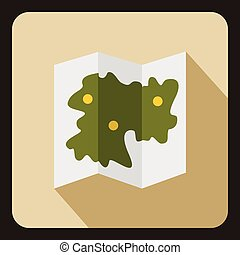 Road map icon, flat style