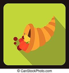 Cornucopia icon, flat style - Cornucopia icon in flat style...