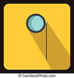 Monocle icon in flat style - icon in flat style on a yellow...