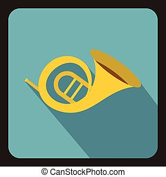 Horn trumpet icon, flat style - Horn trumpet icon in flat...