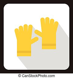 Yellow garden gloves icon, flat style - icon in flat style...