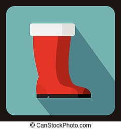 Red rubber boots icon, flat style - Red rubber boots icon in...