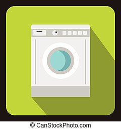 Washing machine icon, flat style - icon in flat style on a...