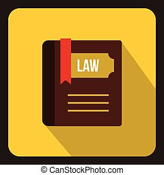 Law book icon in flat style - icon in flat style on a yellow...
