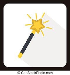 Magic wand icon, flat style - Magic wand icon in flat style...