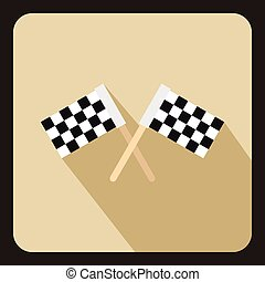 Racing flags icon, flat style - Racing flags icon in flat...