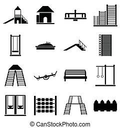 Children playground icons set, simple style - Children...