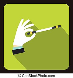 Hand with magic wand icon, flat style - Hand with magic wand...