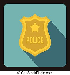 Police badge icon, flat style - icon in flat style on a baby...