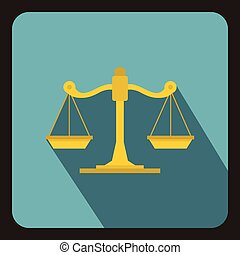 Scales of justice icon, flat style - icon in flat style on a...