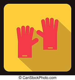 Red rubber gloves icon, flat style - icon in flat style on a...