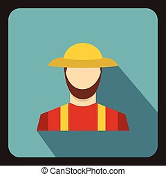 Farmer icon, flat style - Farmer icon in flat style with...