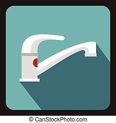 Tap water icon, flat style - icon in flat style on a baby...