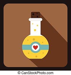 Magic potion icon, flat style - Magic potion icon in flat...