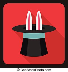 Rabbit in hat magician icon, flat style