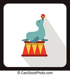 Circus seal with a bal icon, flat style - icon in flat style...